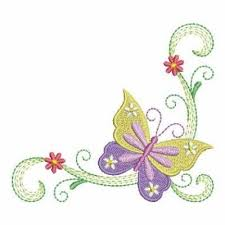 corner flowers butterfly embroidery designs machine embroidery