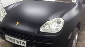 matte black car porsche cayenne matte satin black wrap by wrapping cars london