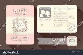 Designs Of Marriage Invitation Cards Vintage Visa Passport Wedding Invitation Card Stock Vector