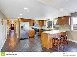 Interior Kitchen Images House Interior Kitchen Room And Long Corridor Stock Photo Image