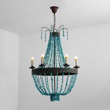 Metal Chandelier Frame Vintage Style Turquoise Bead Strands U0026 Rust Metal Frame 5 Light 6