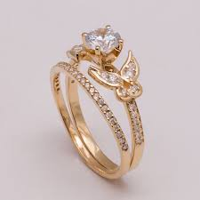 butterfly engagement ring butterfly bridal set gold and diamond engagement ring