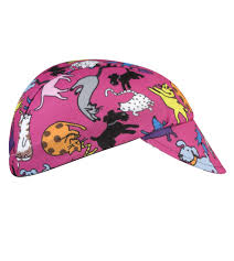 childs cycling cap raining cats and dogs in a wild pink print a