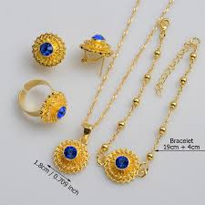 small gold necklace sets images Gold color ethiopian small jewelry sets african style jewelry jpg