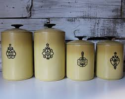 kitchen canister set gold canisters etsy
