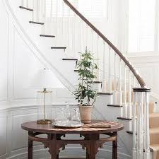 Foyer Stairs Design Shiplap Staircase Walls With Beige Bound Sisal Runner Country