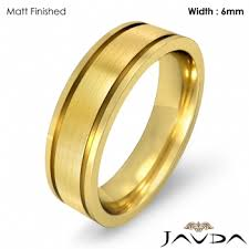 thumb rings for men men wedding solid band 14k yellow gold flat fit plain ring 6mm 8 5