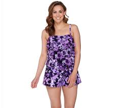 Floral Waterfall Window 1 Piece Fit 4 U Bandeau V Tiered Mesh Romper Swimsuit Page 1 Qvc Com