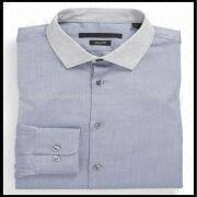 men u0027s slim fit white collar blue pinpoint oxford dress shirts