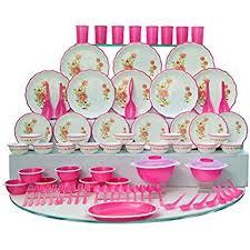 buy joyo plastic dinner set 84 pieces pink at low prices