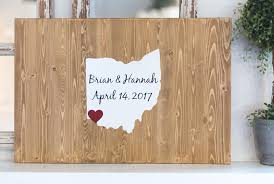 state wood personalized state wood sign wedding guest book alternative