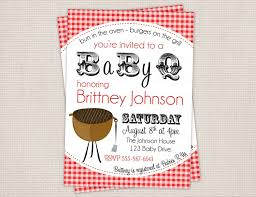 baby showering barbecue party invitation card with white