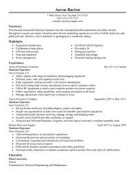 unforgettable machine operator resume examples to stand out