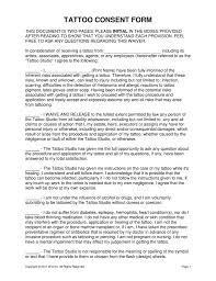 free tattoo u0026 body piercing consent form word pdf eforms