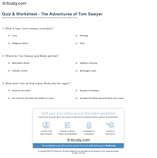 quiz u0026 worksheet the adventures of tom sawyer study com