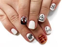 black and white nails harry potter nails halloween nails
