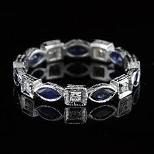 platinum art deco diamond marquise sapphire eternity ring 3 2mm