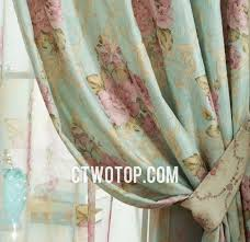 Vintage Green Curtains And Pink Luxury Elegant Retro Vintage French Floral Curtains