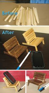 Homemade Phone Stand by Mini Pallet Chair Cell Phone Holder Made From Popsicle Sticks