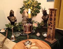 Wiccan Home Decor Altars Wiccan Ostara Altar With Black And Ivy Altar Cloth Layered