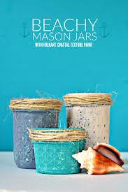 Make Textured Paint - beachy mason jars with coastal texture paint