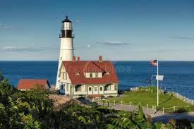 portland head light lighthouse portland head light at sunset in cape elizabeth maine usa stock