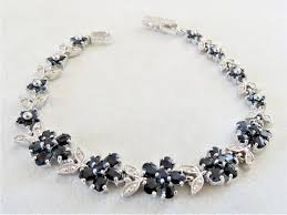 gold sapphire bracelet images Genuine natural blue sapphire bracelet 925 silver gemstone rings JPG