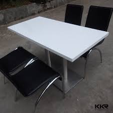 Black Stone Dining Table Top Modern Design Solid Surface Cafeteria Dining Tables White