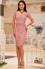 inpuff rochii rochie midi eleganta dantela fina roz noile colectii de rochii
