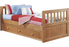 creekside taffy 3 pc twin bed w trundle beds light wood
