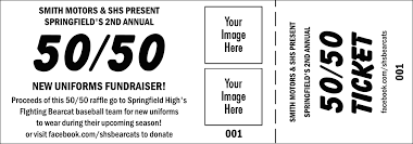 logos 50 50 raffle ticket