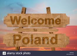 Poland Map Flag Welcome To Poland Road Sign Icon With Flag Map Stock Photo