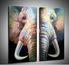 hand painted animal canvas painting abstract elephant paints for wall decoration 2pcs