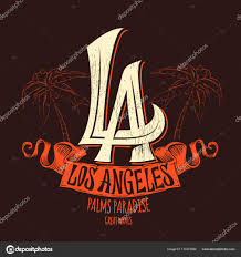 los angeles lettering t shirt design vector illustration stock
