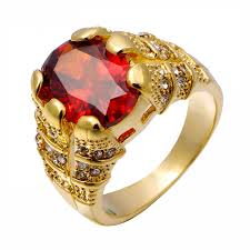 big male rings images Ring mens gold garnet ring new fashion luxury jewelry red male jpg