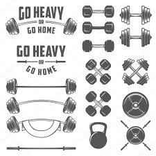 Home Gym Design Download Set Of Vintage Gym Equipment Quotes And Design Elements U2014 Stock