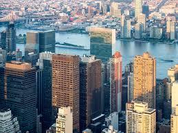 si e de l onu york la vue aérienne de york city comprenant l onu siège image stock