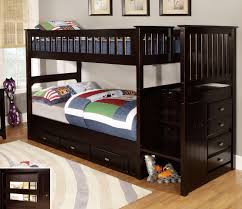 brown wooden boys loft bunk bed built in stair and study table