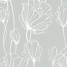 silver and white whimsical floral wallcovering blck 17600