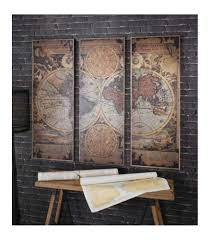 Wooden World Map Wall Art by Stunning Vintage World Map Triptych Panel Wall Art In A Rustic