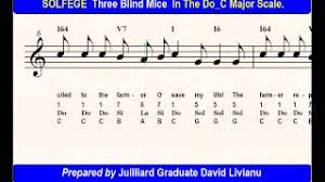 Three Blind Mice Piano Notes Solfege Three Blind Mice In The Do C Major Scale Sight Singing