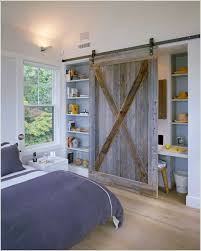 modern bedroom bookshelf design with nice sliding doors