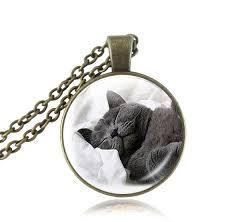 black cat pendant necklace images Fashion gray british shorthair cat pendant necklace glass dome jpg