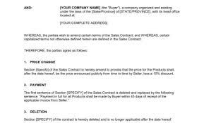 amendment to sales contract u2013 template u0026 sample form biztree