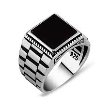 mens silver rings black square onyx silver men s ring boutique ottoman jewelry store
