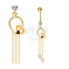 piercing aur piercing pentru buric din aur galben 14k contur de picătură