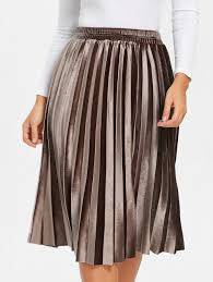 pleated skirts 2018 midi high waisted velvet pleated skirt brown s in skirts