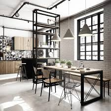 industrial design kitchen eclectic with industrial dining table