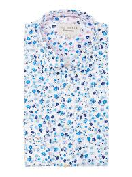 ted baker floral print cotton shirt in blue for men lyst