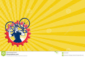 Bicycle Business Cards Cyclist Bicycle Mechanic Carrying Bike Sprocket Retro Royalty Free